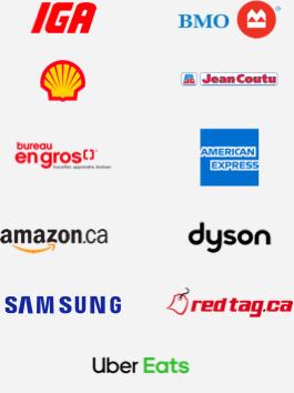 IGA, BMO Bank of Montreal, Shell, Jean Coutu, Bureau en gros, American Express, Amazon, Dyson, Samsung, Redtag, and Ubereats